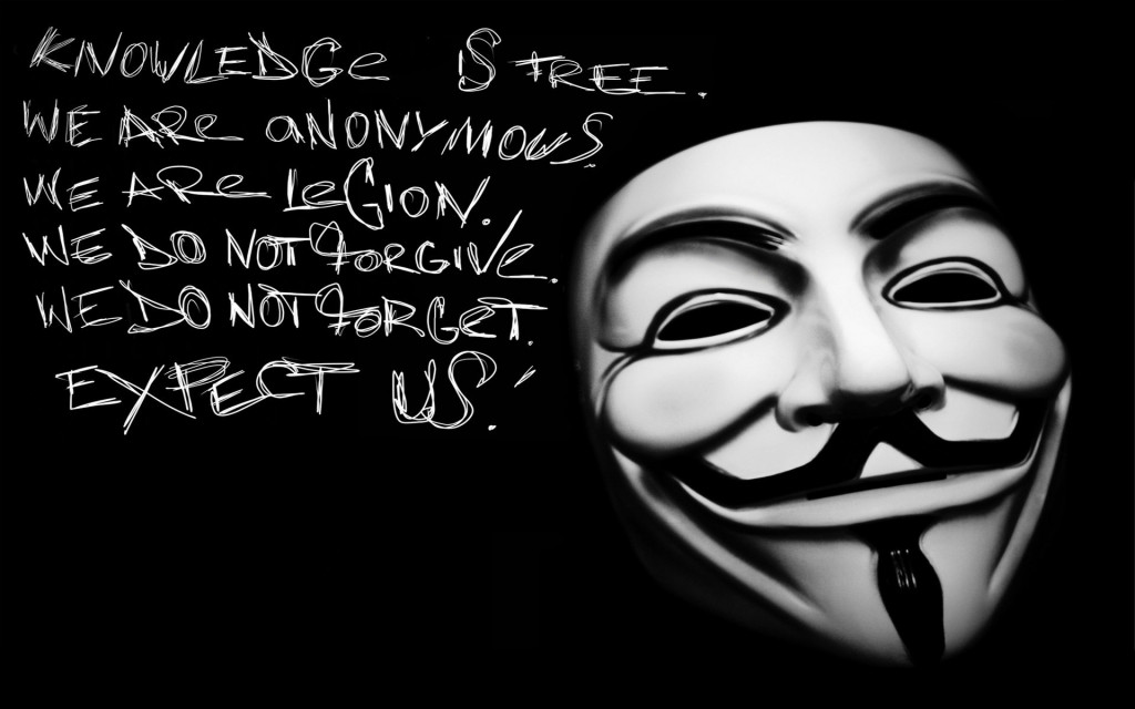 Lema de Anonymous usando la máscara de Guy Fawkes